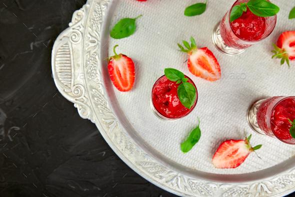 Summer refreshing strawberry granita - Stock Photo - Images