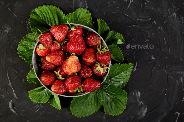 Strawberry in the bowl - Stock Photo - Images