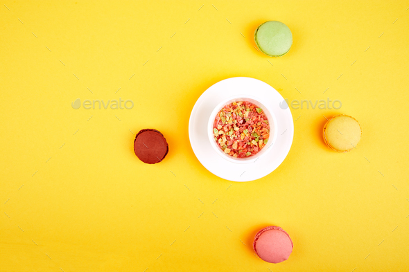 Sweet Dessert Macaron or macaroon - Stock Photo - Images