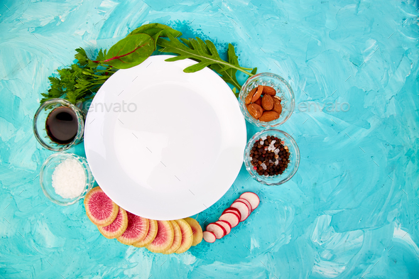 Empty white plate. Ingredient and salad - Stock Photo - Images