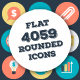 4059 Flat Rounded Vector Icons - GraphicRiver Item for Sale