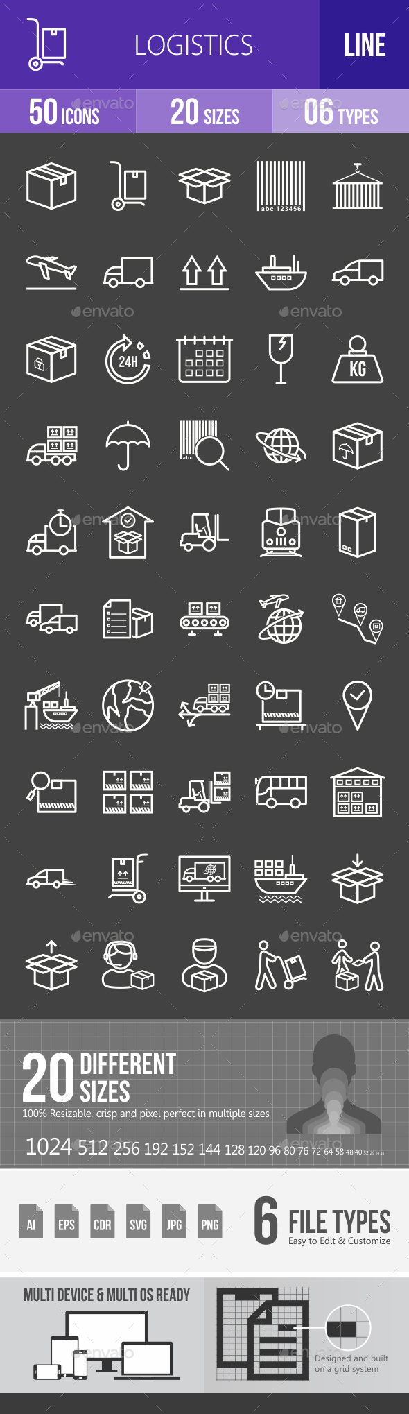 Logistics Line Inverted Icons - Icons