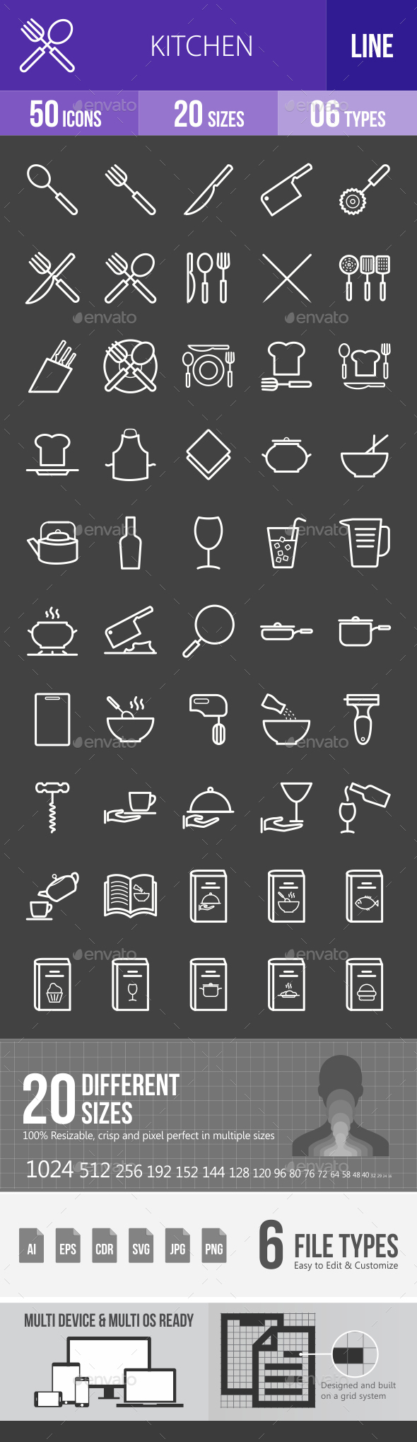 Kitchen Line Inverted Icons - Icons