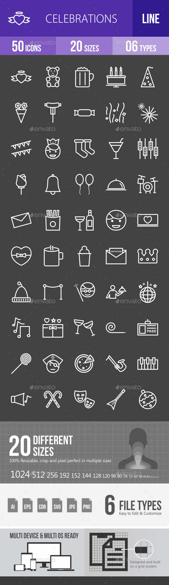 Celebrations Line Inverted Icons - Icons