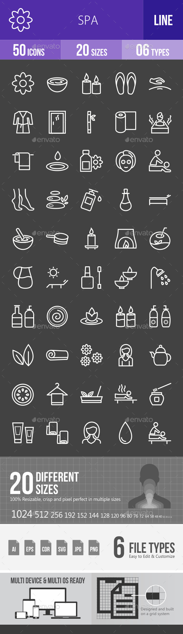 Spa Line Inverted Icons - Icons
