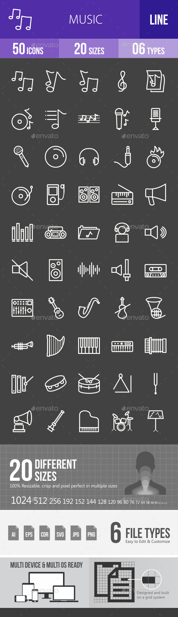 Music Line Inverted Icons - Icons