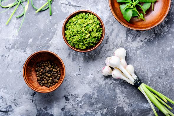 Pesto - Italian cuisine sauce - Stock Photo - Images