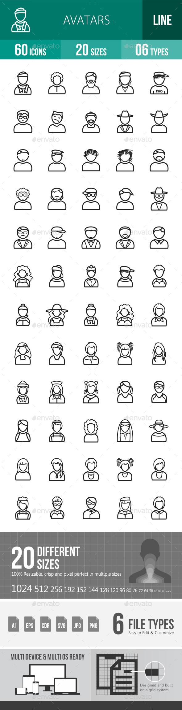 Avatars Line Icons - Icons