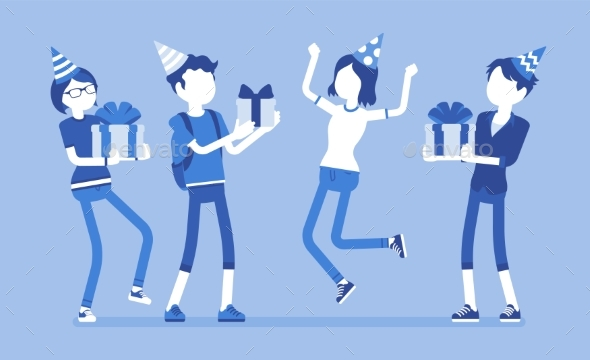 Happy People at Birthday Party Celebration - Miscellaneous Vectors