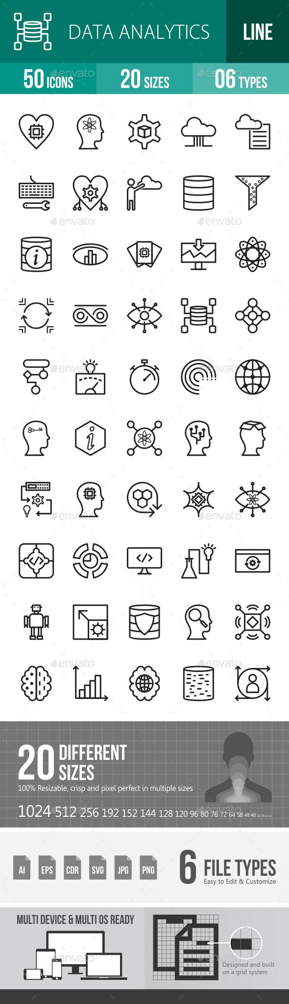 Data Analytics Line Icons - Icons