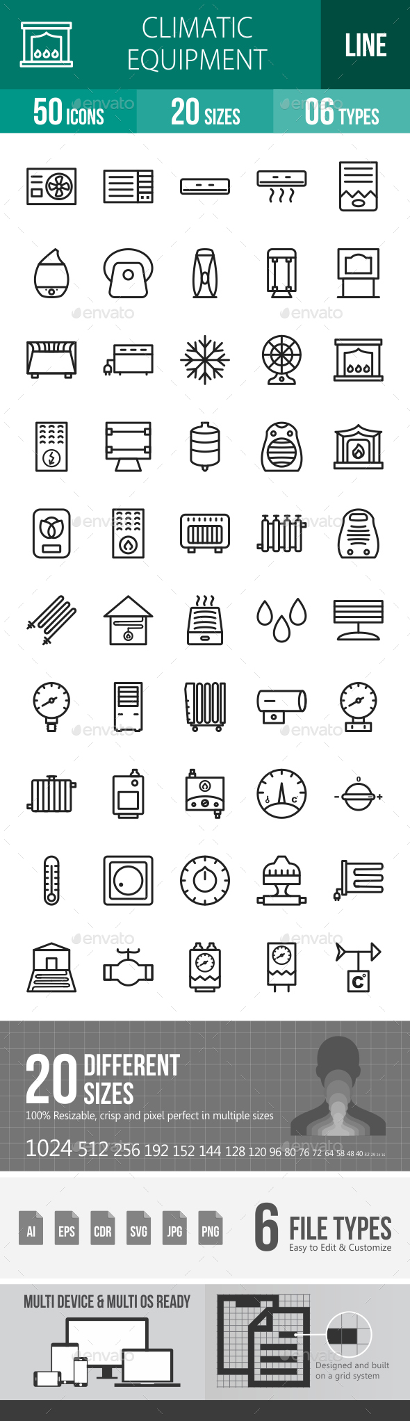 Climatic Equipment Line Icons - Icons