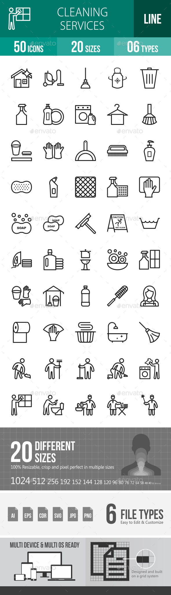Cleaning Services Line Icons - Icons