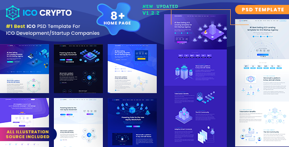 ICO Crypto – Bitcoin and Cryptocurrency Landing Page PSD Template - Marketing Corporate