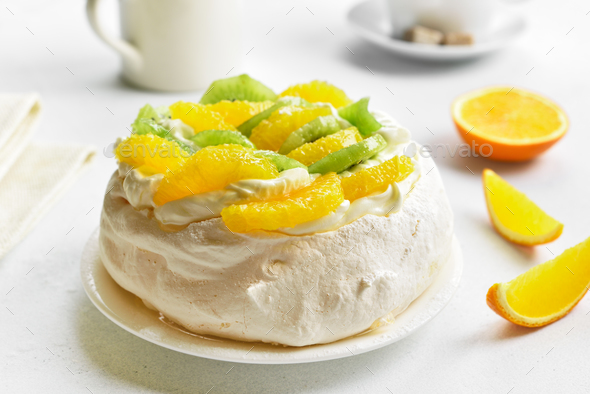 Pavlova meringue cake - Stock Photo - Images