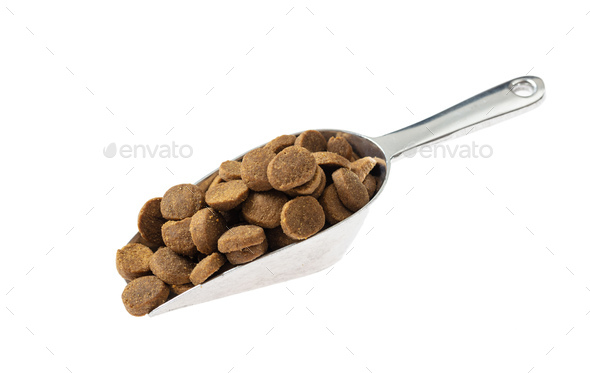 Scoop with pet food, cut out and isolated on white background. - Stock Photo - Images
