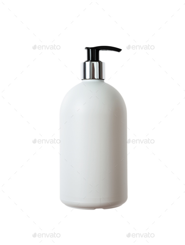 Hand soap white bottle, cut out and isolated on a white background - Stock Photo - Images