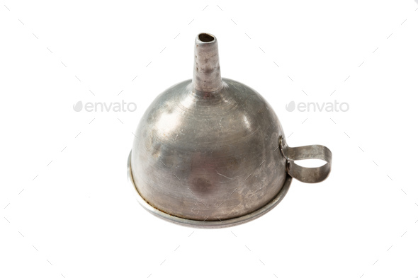 Old metal funnel hopper isolated on white background - Stock Photo - Images