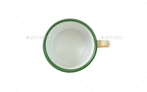 Coffee mug, enamel, green, with top view, cut out, isolated on a white background - Stock Photo - Images