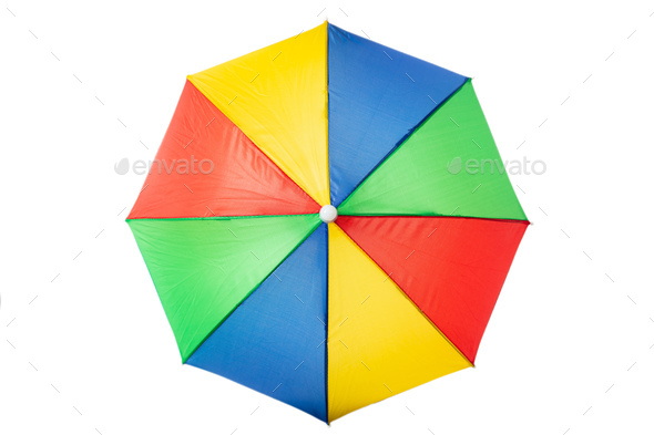 Beach umbrella multicolour, isolated on a white background - Stock Photo - Images