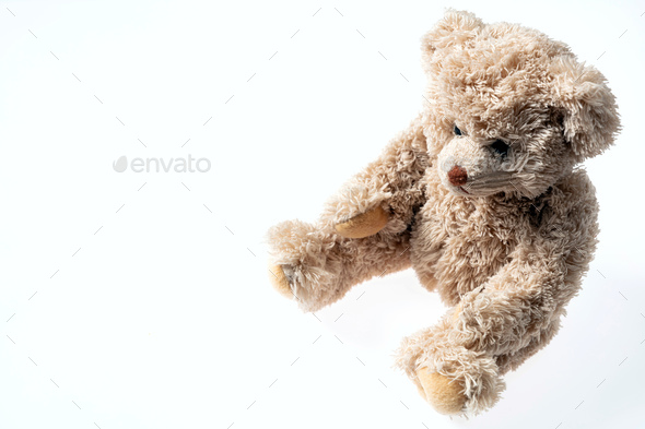Teddy bear isolated with copy space on white background - Stock Photo - Images