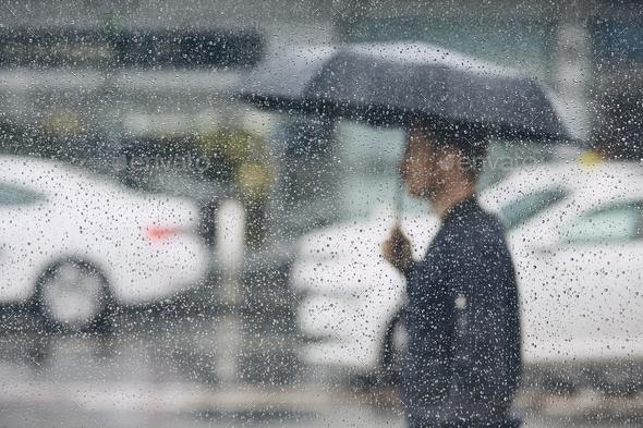 Rain in city - Stock Photo - Images