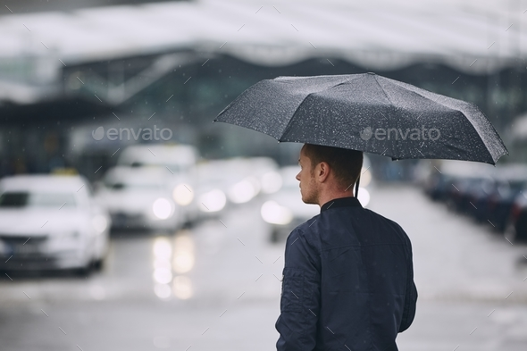 Rain in city - Stock Photo - Images