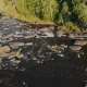Overhead Aerial Shot of Rafting Boat on Raging Mountain River with Rapids - VideoHive Item for Sale