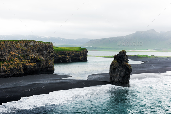 Incredible view of the Black beach - Stock Photo - Images