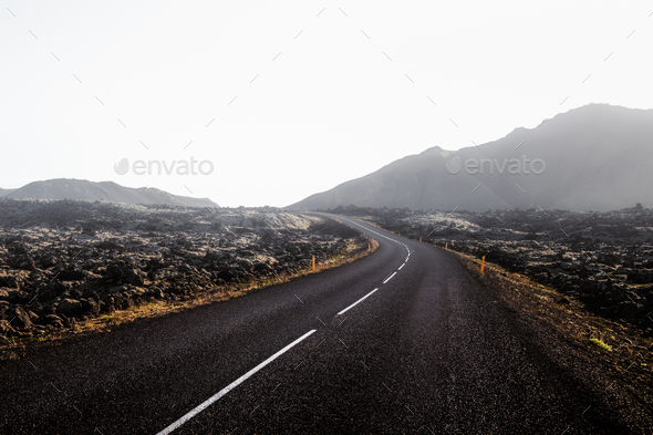 Typical Iceland landscape with road - Stock Photo - Images
