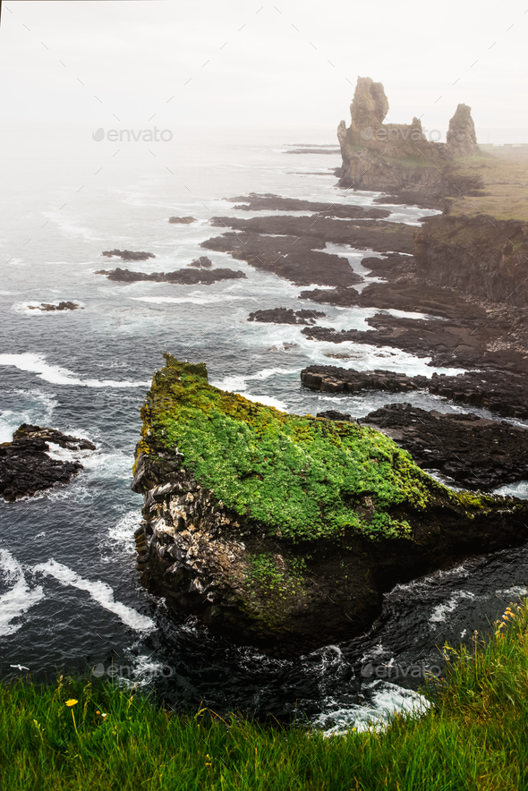 Cloudy seascape on Snafellsnes peninsula - Stock Photo - Images