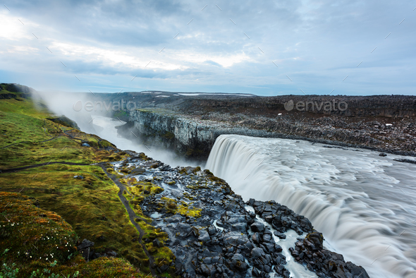 Most powerful waterfall Dettifoss - Stock Photo - Images