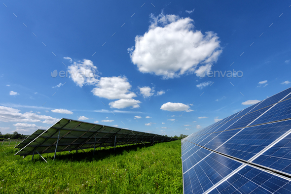 Solar panel on blue sky background - Stock Photo - Images
