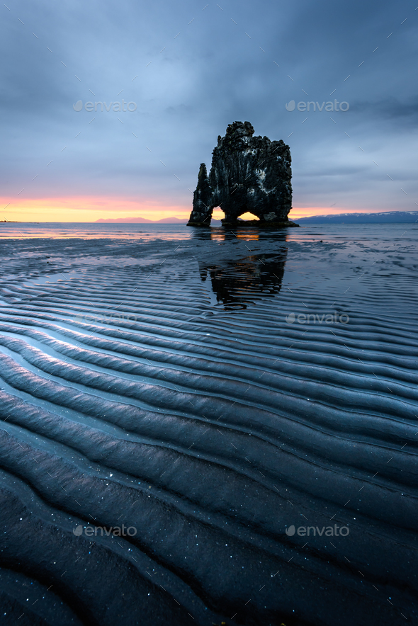 Basalt stack Hvitserkur - Stock Photo - Images