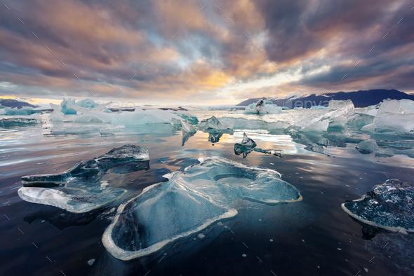 Icebergs in Jokulsarlon glacial lagoon - Stock Photo - Images