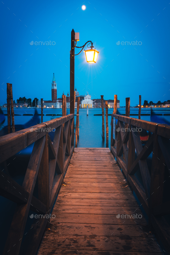 Colorful landscape with wooden pier - Stock Photo - Images