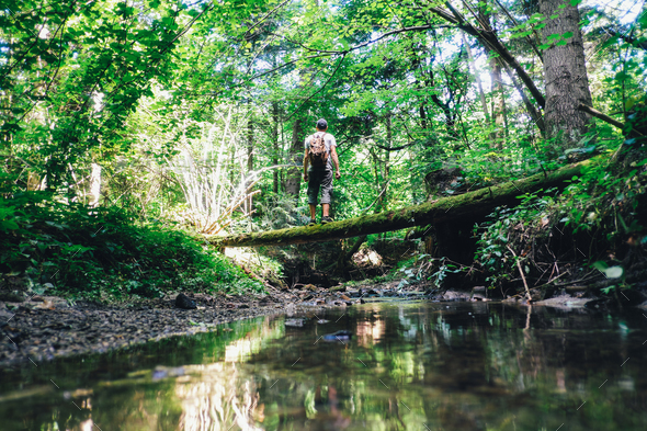 Alone man in wild forest - Stock Photo - Images