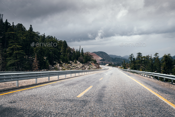 Highway road in the high mountain - Stock Photo - Images