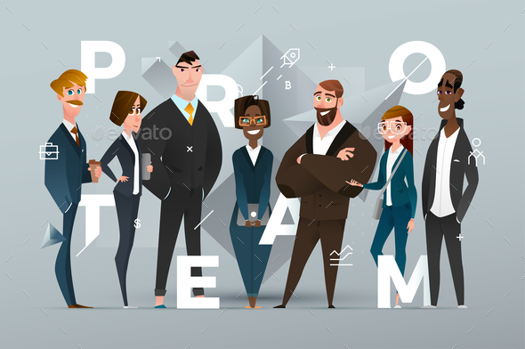 Abstract Business Banner Design with Cartoon Characters - Business Conceptual