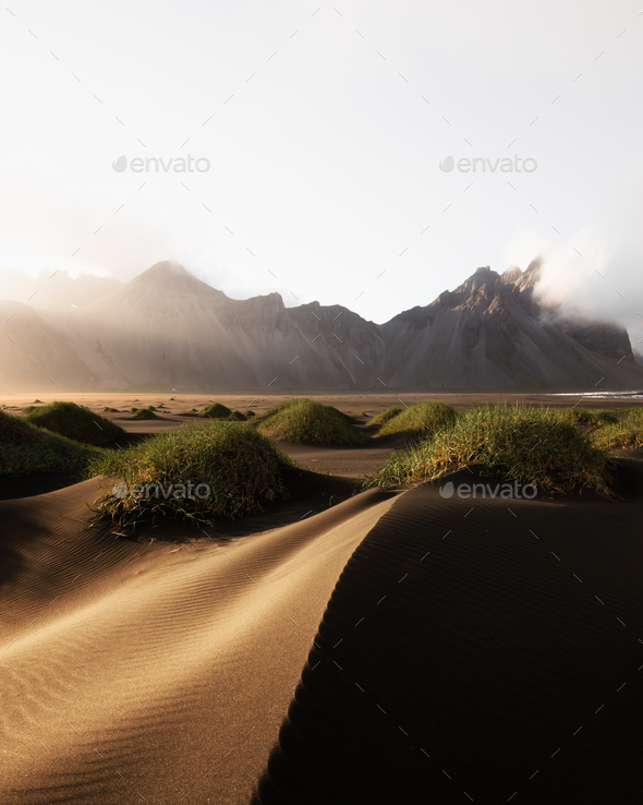 Famous Stokksnes mountains on Vestrahorn cape - Stock Photo - Images