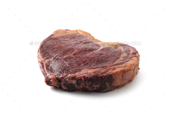Marbling ribeye steak isolated - Stock Photo - Images