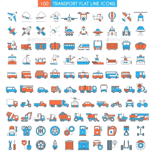 Vehicles Icons Set - Miscellaneous Vectors