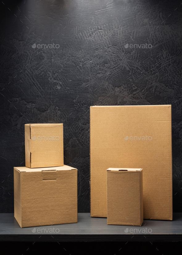 cardboard box on black background - Stock Photo - Images