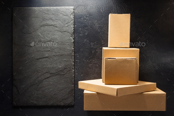 cardboard box on black background - Stock Photo - Images