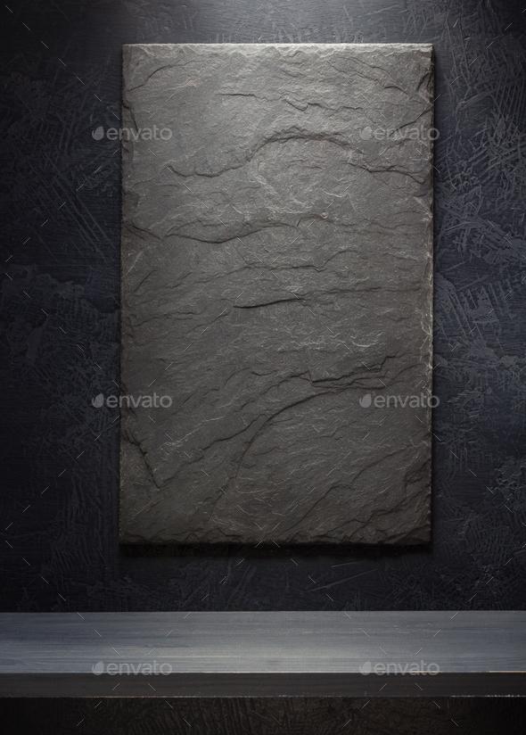 slate stone and shelf on black - Stock Photo - Images