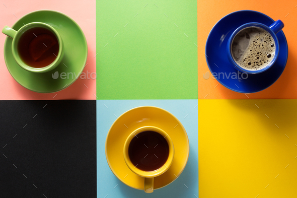 cup of coffee, tea and cacao at colorful background - Stock Photo - Images