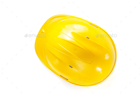 construction hard hat isolated on white - Stock Photo - Images