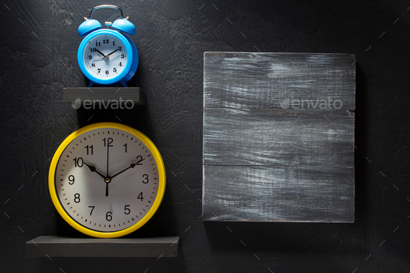 wall clock at black - Stock Photo - Images