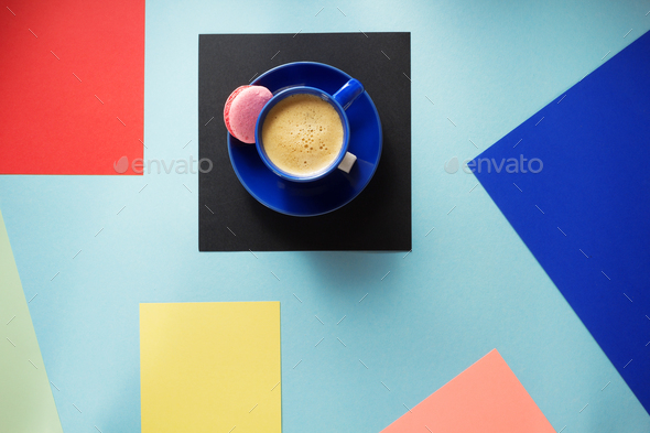 cup of coffee at colorful background - Stock Photo - Images