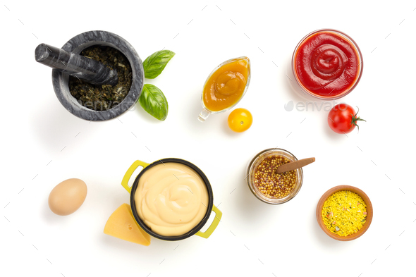 set of dip sauces in bowl on white - Stock Photo - Images