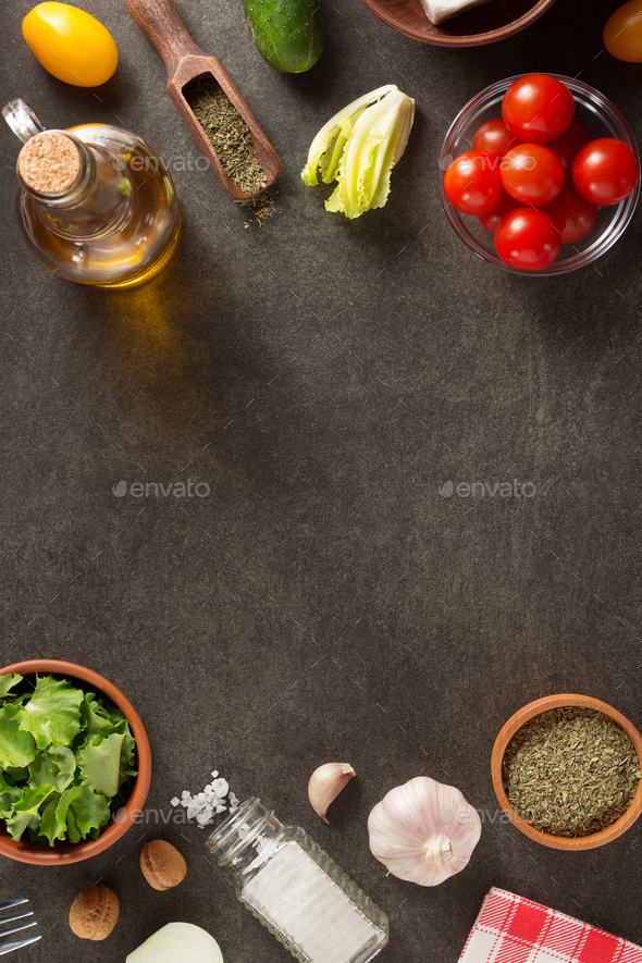 spice and herb ingredients on table - Stock Photo - Images